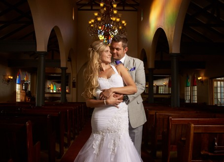 Bridal Couple in Chapel